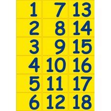 Vloerstickers - Getallen 1 tot 100 blauw & geel.