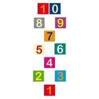 Hinkelbaan 1 tot 10 gekleurd klassiek - vloerstickers.