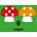 Hinkelbaan 1 tot 10 paddenstoelen - vloerstickers.