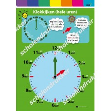 Rekenposter Klokkijken - hele uren