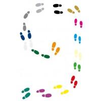 Beweegbaan - 16 paar gekleurde schoenen.
