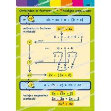 Wiskunde poster Ontbinden in factoren - haakjes wegwerken *.